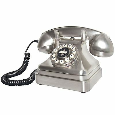 Wild & Wolf Lobby Chrome Desk Phone Retro Vintage Telephone Collectible