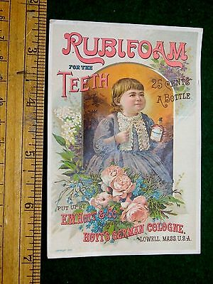 1870s-80s Rubifoam For The Teeth 25 Cents A Bottle Victorian Trade Card F10