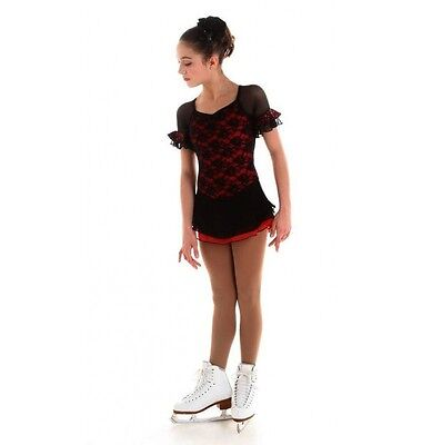 NEW COMPETITION SKATING DRESS Elite Xpression Black Lace Red1522 CXL 12-14