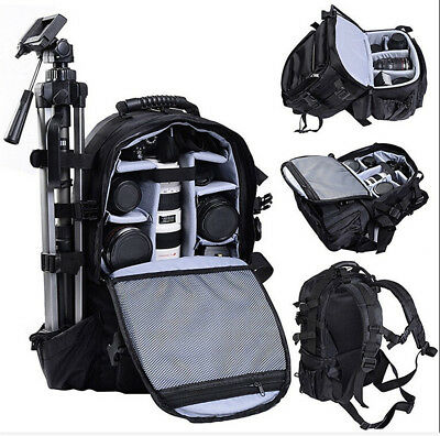 Large DSLR SLR Deluxe Camera Backpack Rucksack Bag Case For Nikon Sony Canon US