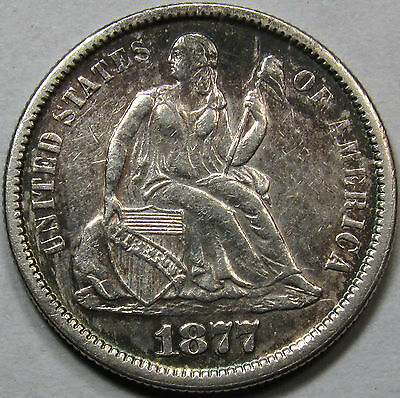 1877-S Seated Liberty Dime. AU++.  Unique Toning. Better Date.