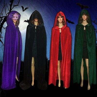 Halloween Velvet Hooded Cloak Wicca Robe Medieval Witchcraft Larp Cape Unisex