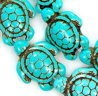 Blue Howlite Turquoise Carved Turtle Spacer Loose Beads 13x 17mm 16'' Strand