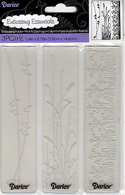 "Nature Embossing Folders -Borders Trio, 1.4"" x 5.75"" -3 Embossing Strip Folders"