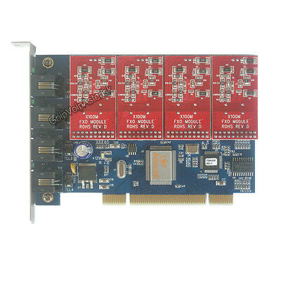 4 FXO Asterisk card TDM400P PCI card for freepbx elastix trixbox voip pbx