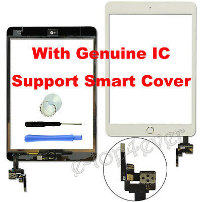 White For iPad mini 3 3rd Gen A1599 A1600 Glass Touch Digitizer Screen+Button&IC