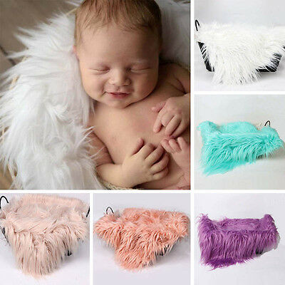 Mongolian Faux Fur Newborn Baby Blanket Stuffer Mat for Photography Photo Prop