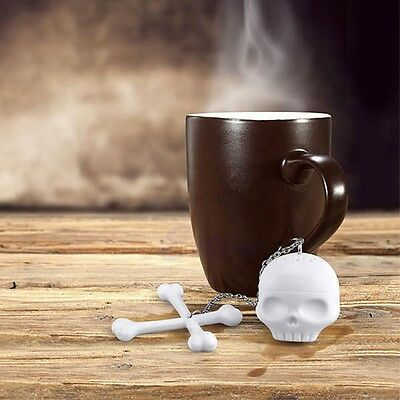 Stylish Creative Silicone Tea Bones Skull Loose Leaf Leaves Lazybone Strainer