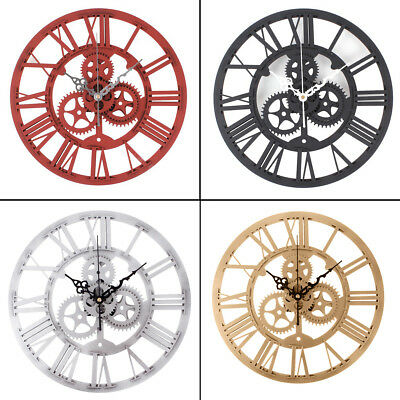 Creative Vintage Large Mechanical Gear Time Wall Clock Silent Movement