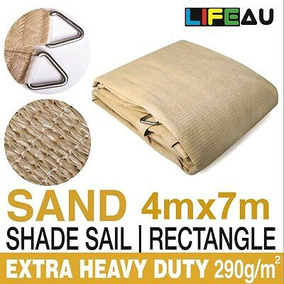 4 x 7M Rectangle SAND Extra Heavy Duty Shade Sail 290gsm 95% UV block 4m x 7m