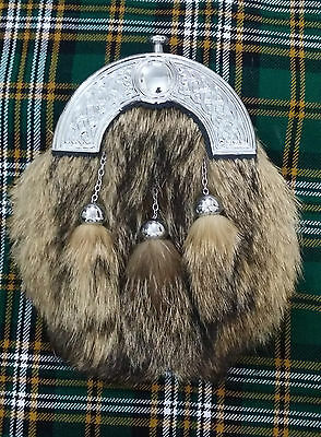New Men's Scottish Full Dress Kilt Sporran Celtic Cantle Fox Fur/Kilt Sporrans