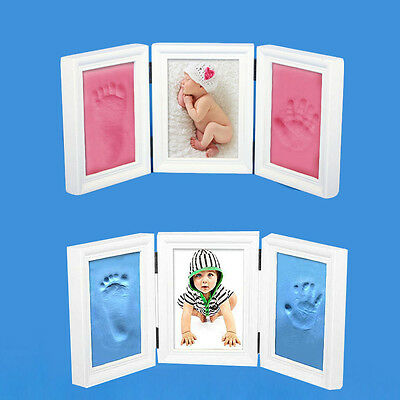 Infant Baby Hand Footprints Picture Photo Frames Touch Clay Casting Keepsake Set