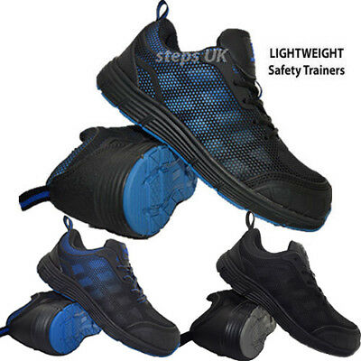 New Mens Ultra Lightweight Steel Toe Cap Safety Work Trainers Lace Up Shoes Boot
