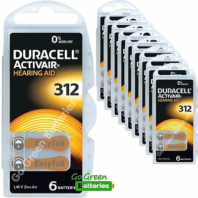 60x Duracell Activair Size 312 (Brown tab) Hearing Aid Batteries Long expiry