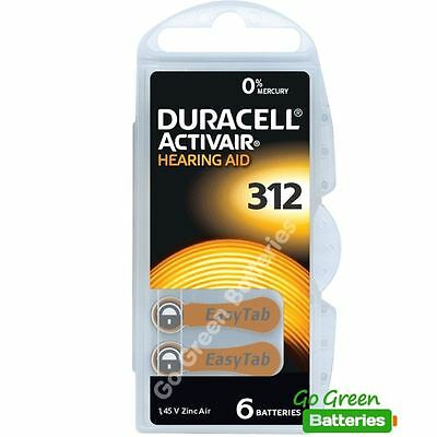 6 x Duracell Activair Size 312 (Brown tab) Hearing Aid Batteries Long expiry
