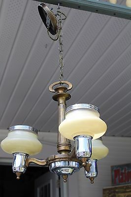 Antique Art Deco Ceiling Chandelier With Custard Glass Slip Shade , Vintage