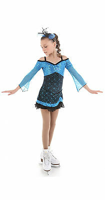 New Competition Figure Skating Dress XPRESSION 1526 Turquoise Adult Medium  AM