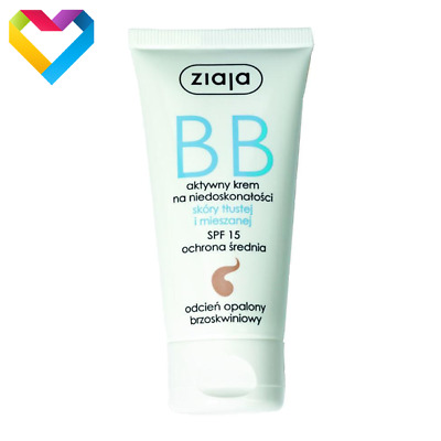 ZIAJA BB FACE CREAM FOR OILY AND MIXED SKIN SPF 15 - TANNED SHADE - 50ml 01215