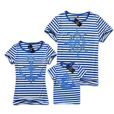 Family Look Matching Clothing Outfits Set Tops Short-sleeve Striped T-shirts Tee