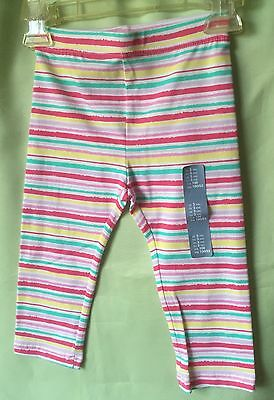 Baby Gap Girls Multi Colored Stripe Girl's Cropped Leggings Size 3- New