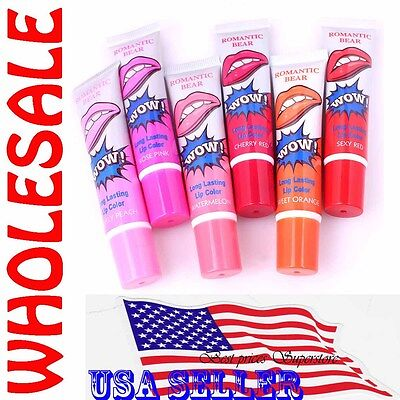 6 Colors Romantic Bear Lip Wow Gloss TATTOO Peel Mask Long Lasting Wholesale