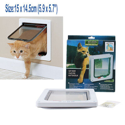 White 4-Way Magnetic Lockable Dog CAT Kitty Pet safe Flap Door Small Medium 12lb
