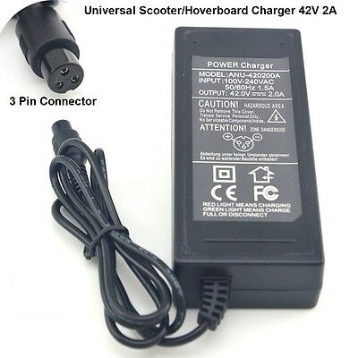 Scooter Charger 3 PINS  Hoverboard Power Adapter 42V2A 2 Wheels Self Balancing