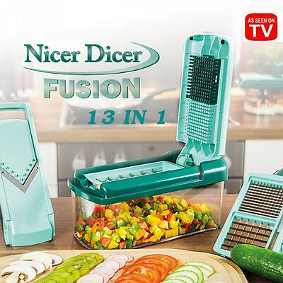 NEW 13in1 Nicer Dicer Fusion Vegetable Slicer Garlic Potato Food Chopper Cutter