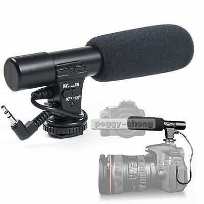 Sidande MIC-01 3.5mm DV Stereo Microphone Mic For Canon Nikon Camera Video【US】