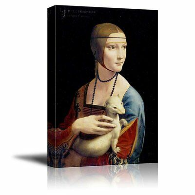 "Wall26 - Lady with an Ermine by Leonardo da Vinci - Canvas Print - 24"" x 36"""