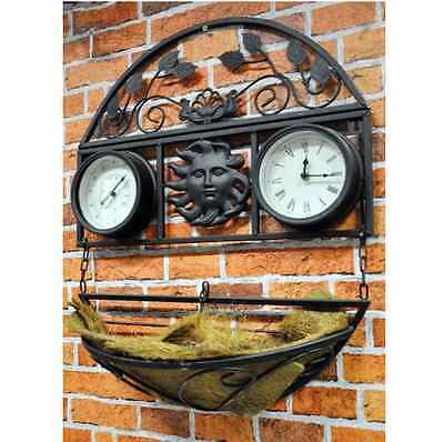 New Decorative Wall Planter with Clock and Thermometer, Garden Vintage Outdoor