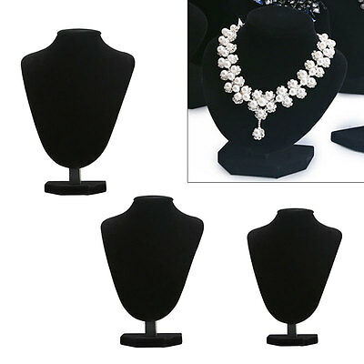 Velvet Jewelry Necklace Chain Display Mannequin Bust Holder Stand Shop Black
