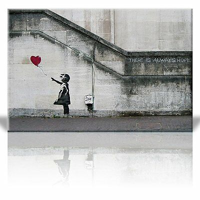 Banksy Canvas Print Wall Art- Red Balloon Girl Painting Repro Home Decor -24x36