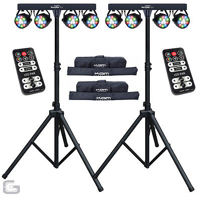 KAM Partybar Eco 48W RGBW LED DJ DMX Band Stage Lighting Par Bar Pair Package