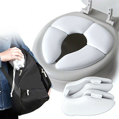 Baby Kids Travel Potty Portable Folding Toilet Training Soft Seat Space Saving