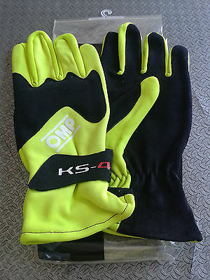 Guanti Kart Omp Bambino Ks-4  Taglia 5 Yellow Karting Race Gloves Children