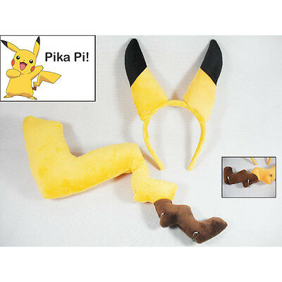 Cosplay Prop Anime Pokemon Pikachu's Ear Tail Soft Plush Toy Kid Costume Gift