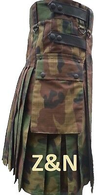 Men Camouflage Tactical Combat Army Utility Kilt Leather Straps, Adjustable