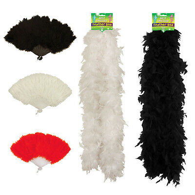 Show Girl Feather Fan Boa 150Cm Red White Black Burlesque Hen Party Fancy Dress