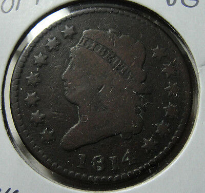 1814 1c Classic Head Cent Crosslet 4 VG Coin