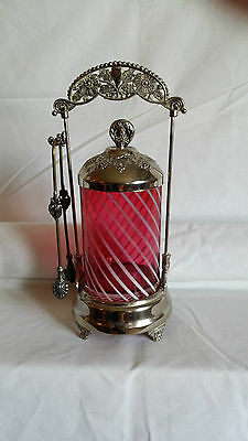 Vintage Silver-Plate Pickle Castor Cruet Stand with Cranberry Milk Glass Swirl
