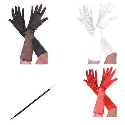 Long Satin Red Black Gloves+Cigarette Holder Cruella De Ville Halloween Dresses