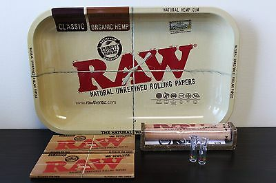Raw Rolling Tray Combo+Raw 110mm Roller+Raw King Size Rolling Papers+Roor Tips