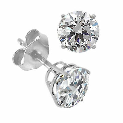 1.00Carat Round Brilliant Cut Pushback Basket Stud Earrings Solid 18K White Gold