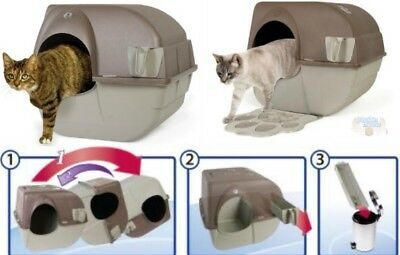 Self-Clean Cat Litter Tray Covered Hygienic Box Less Smell & Mess Ideal Flats