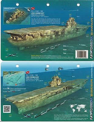 USS Oriskany Illustrated Dive Site Wreck Guide Waterproof Card Pensacola Florida