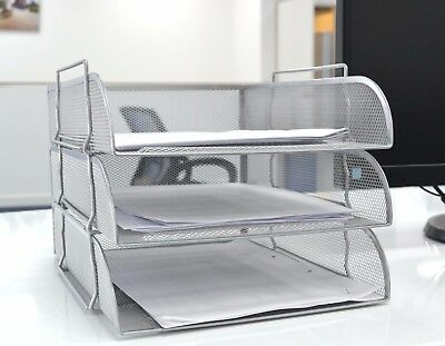 Silver Mesh Filling Front Load 3 Trays Letter File Tray Organiser Desktop Office