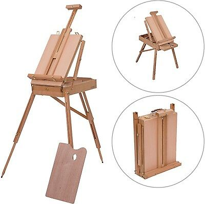 Wooden Easel Tripod Folding Art Suitcase Sketch Drawing Painting Palette Wood