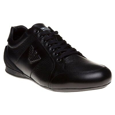New Mens Emporio Armani Black Logo Sneaker Low Leather Shoes Lace Up