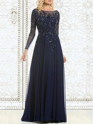 New Noble Custom Beaded Mother of the Bride Dress Long Sleeve Prom Evening Gown